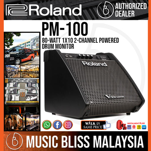 Roland PM-100 80-Watt 1x10 2-Channel Powered Drum Monitor (PM100 / PM 100) - Music Bliss Malaysia