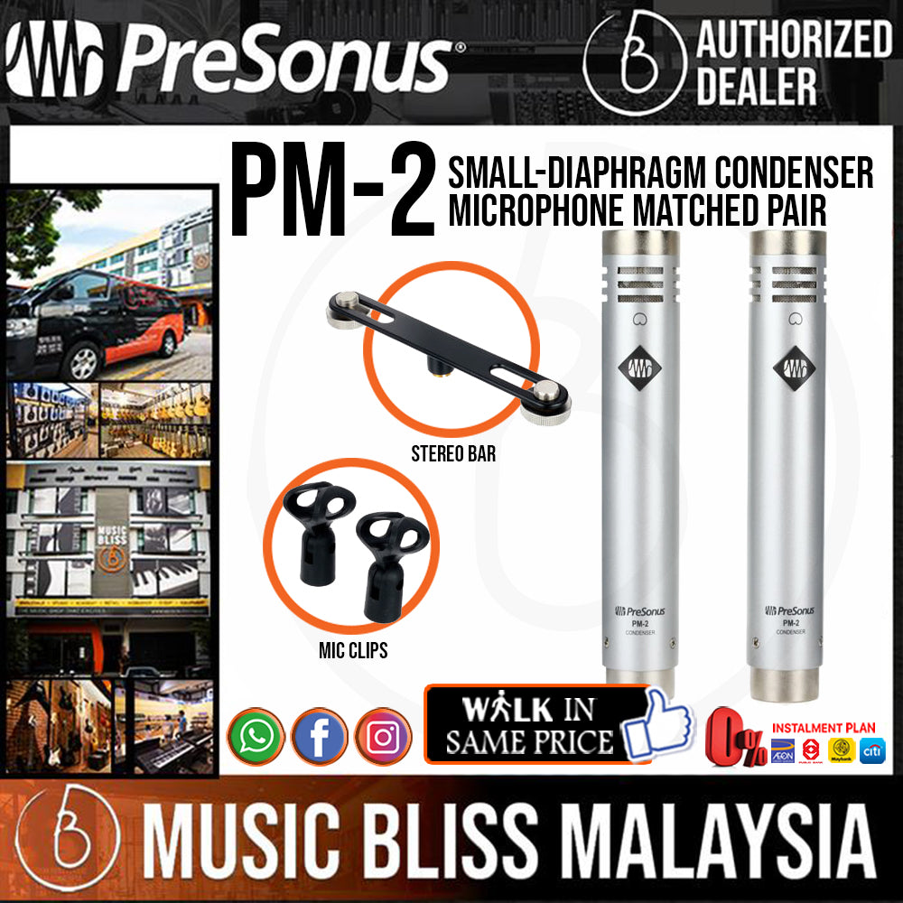 PreSonus PM-2 Small-Diaphragm Condenser Microphone Matched Pair (PM2 / PM 2) *Price Match Promotion* - Music Bliss Malaysia
