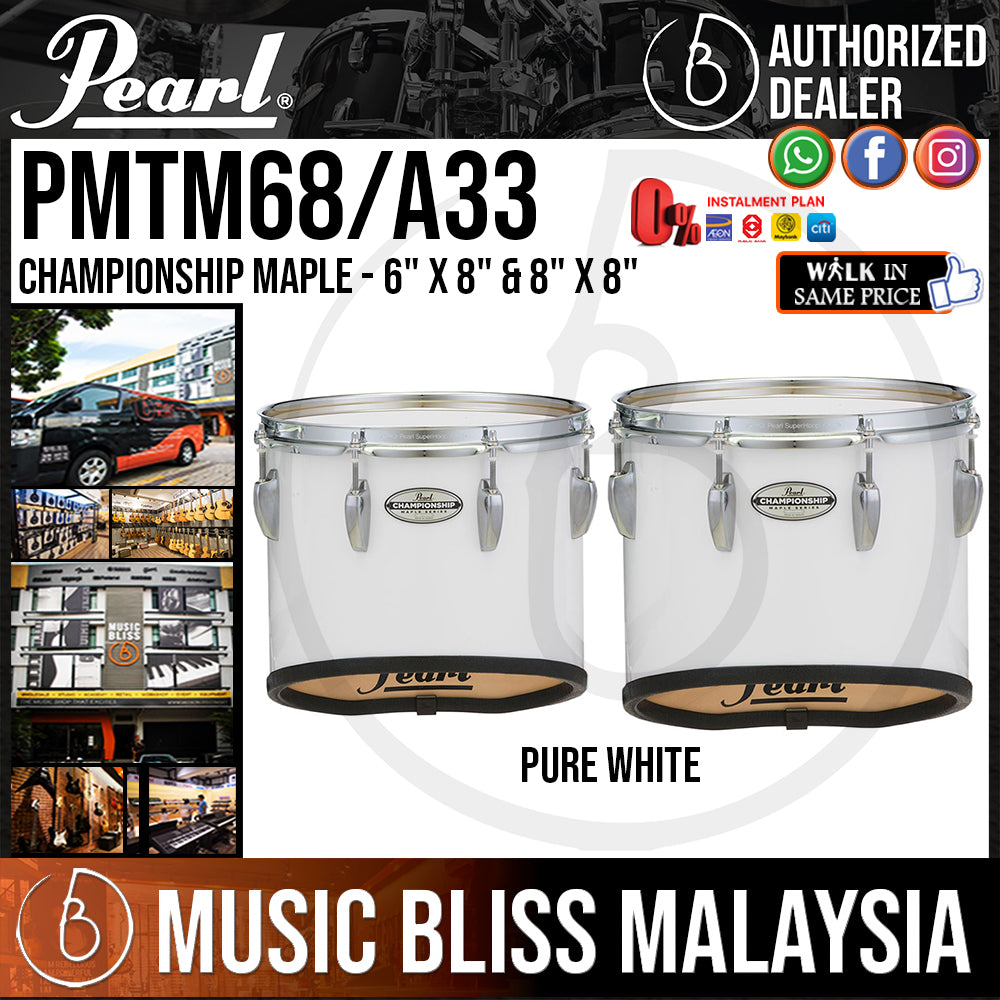"""Pearl Championship Maple Marching Tenor Drum with Mounts - 6"""" x 8"""" & 8"""" x 8"""" - Pure White (PMTM68/A33) - Music Bliss Malaysia"""