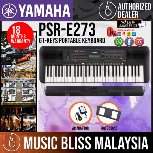 Yamaha Keyboards PSR-E273 61-Keys Portable Keyboard with Original Adapter (PSRE273 / PSR E273) *Crazy Sales Promotion* - Music Bliss Malaysia