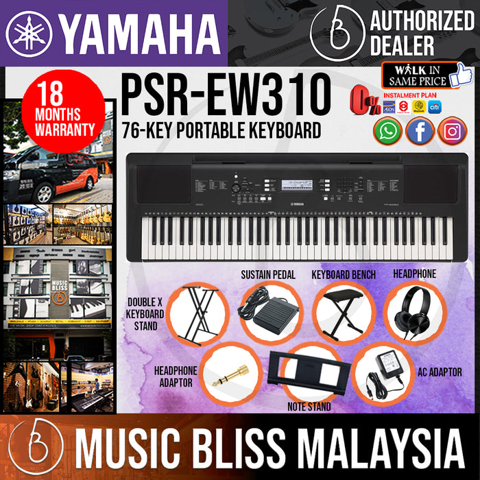 Yamaha PSR-EW310 76-key Portable Keyboard with Keyboard Stand, Bench and Pedal (PSREW310 / PSR EW310) *Crazy Sales Promotion* - Music Bliss Malaysia