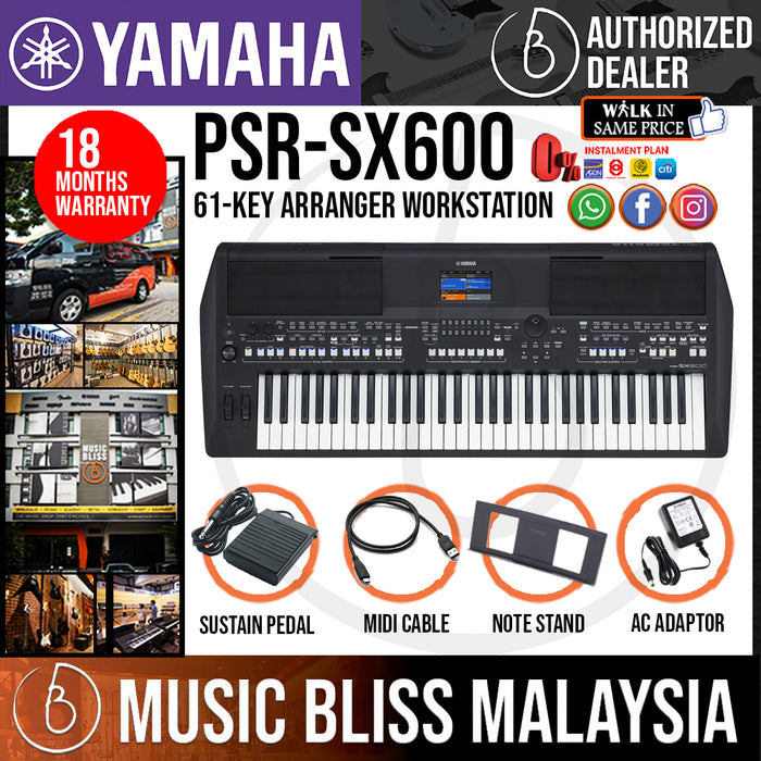 Yamaha PSR-SX600 61-key Arranger Workstation with Sustain Pedal (PSRSX600 / PSR SX600) *Crazy Sales Promotion* - Music Bliss Malaysia