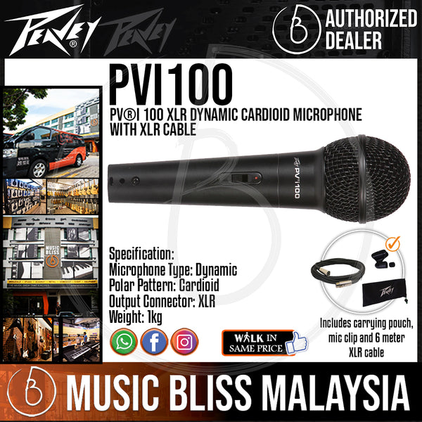 Peavey Pvi 2 Dynamic Vocal Cardiod Microphone with XLR Cable and Clip