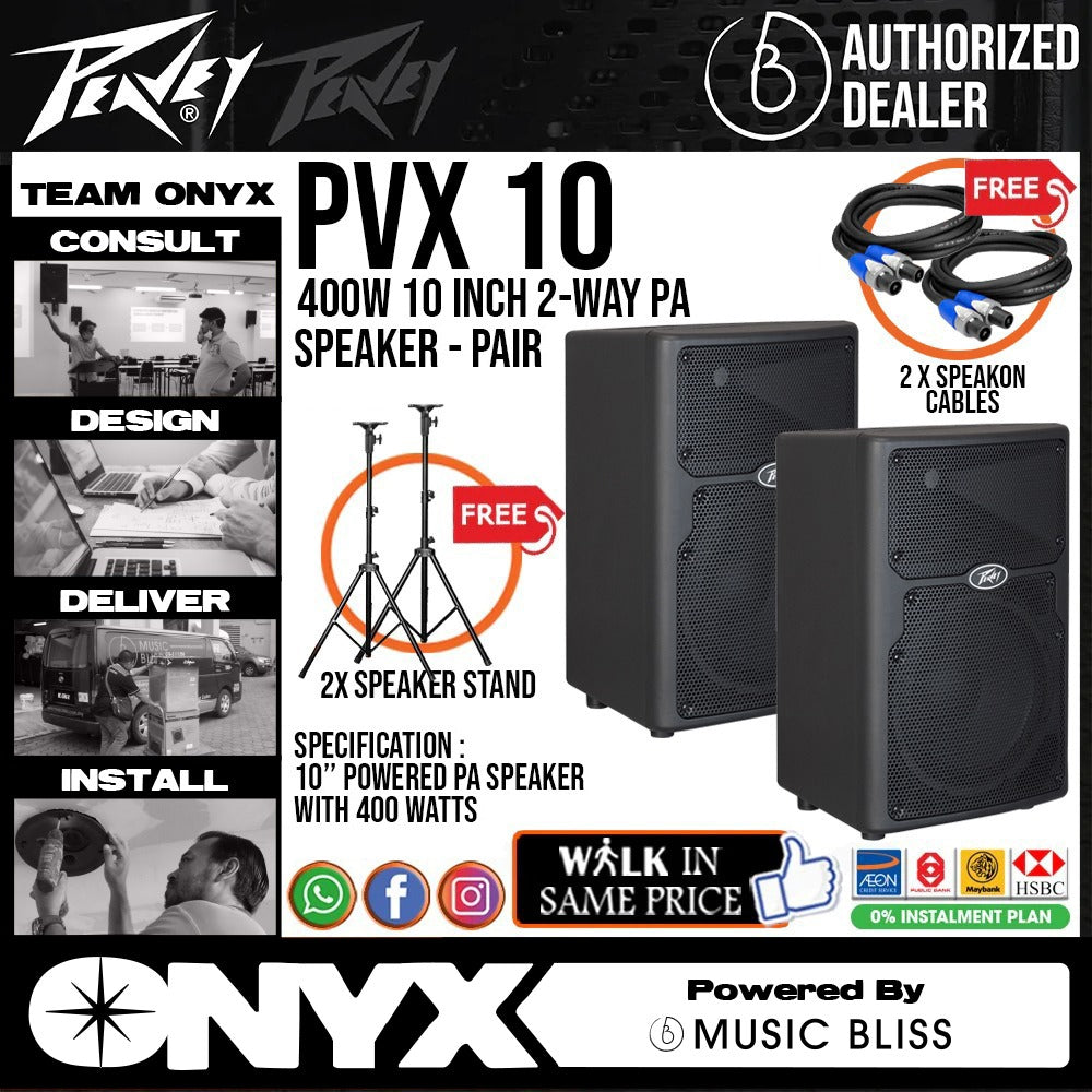 Peavey PVX 10 800W 10 inch Passive Speaker with FREE Wireless Microphone, Speaker Stands and Cables - Pair (PVX10) - Music Bliss Malaysia