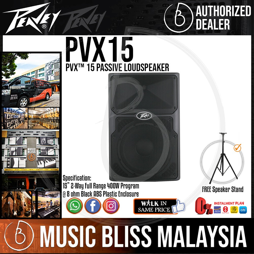 Peavey PVX 15 800W 15 inch Passive Speaker with FREE Speaker Stand (PVX15) *RMCO Promotion* - Music Bliss Malaysia