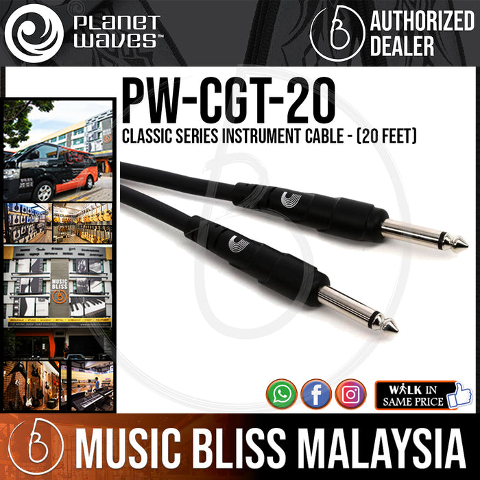 Planet Waves PW-CGT-20 Classic Series Instrument Cable - 20 feet (PWCGT20) - Music Bliss Malaysia