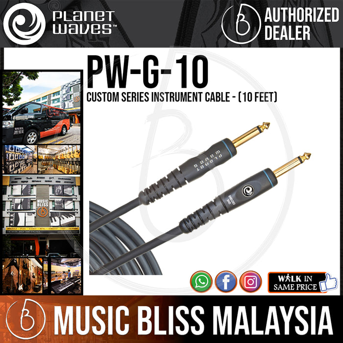 Planet Waves PW-G-10 Custom Series Instrument Cable - 10 feet (PWG10) - Music Bliss Malaysia