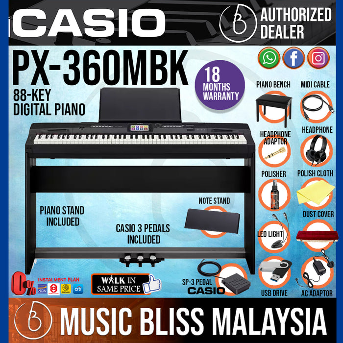 Casio Privia PX-360 88-Keys Digital Piano Full Package (PX360 / PX-360M / PX-360MBK) - Music Bliss Malaysia