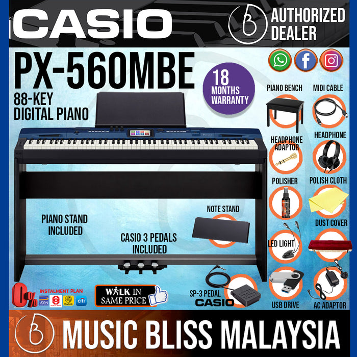 Casio Privia PX-560 88-Keys Digital Piano Full Package (PX560 / PX-560M / PX-560MBE) - Music Bliss Malaysia
