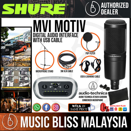 SHURE MOBILE RECORDING KIT For musicians, podcasters and anyone wishing to record professional audio anywhere,Shure MOTIV MV5-LTG-A Digital Condenser Microphone with Shure SRH240A Professional Quality Headphone. - Music Bliss Malaysia