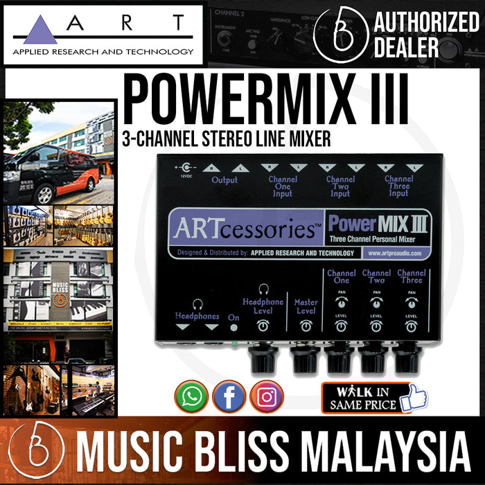 ART PowerMIX III 3-channel Stereo Line Mixer (PowerMIXIII)