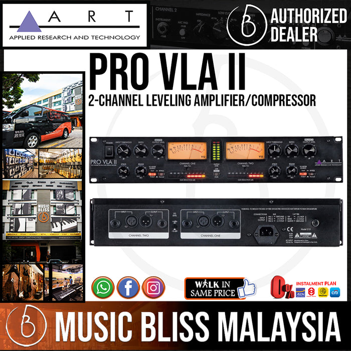 ART Pro-VLA II 2-channel Leveling Amplifier/Compressor with Optical Compression (ProVLA / Pro VLA) - Music Bliss Malaysia