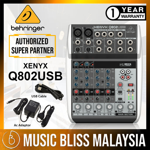 Behringer Xenyx Q802USB Mixer with USB (Xenyx-Q802USB) *Everyday Low Prices Promotion* - Music Bliss Malaysia