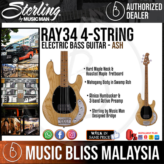 Sterling Ray34 4-string Electric Bass Guitar - Ash (Ray-34) - Music Bliss Malaysia
