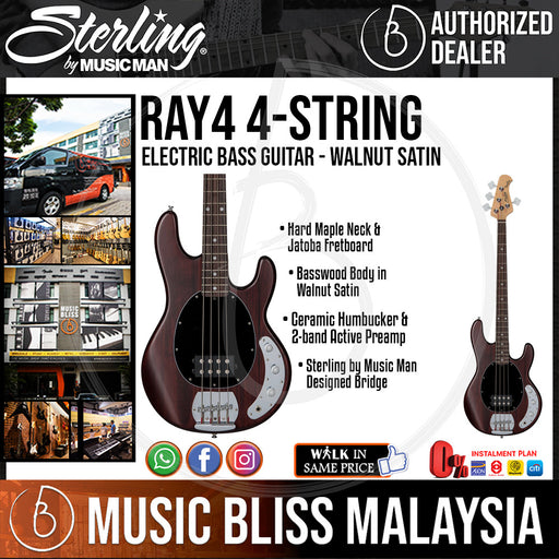 Sterling Ray4 4-String Electric Bass Guitar - Walnut Satin (Ray-4) - Music Bliss Malaysia
