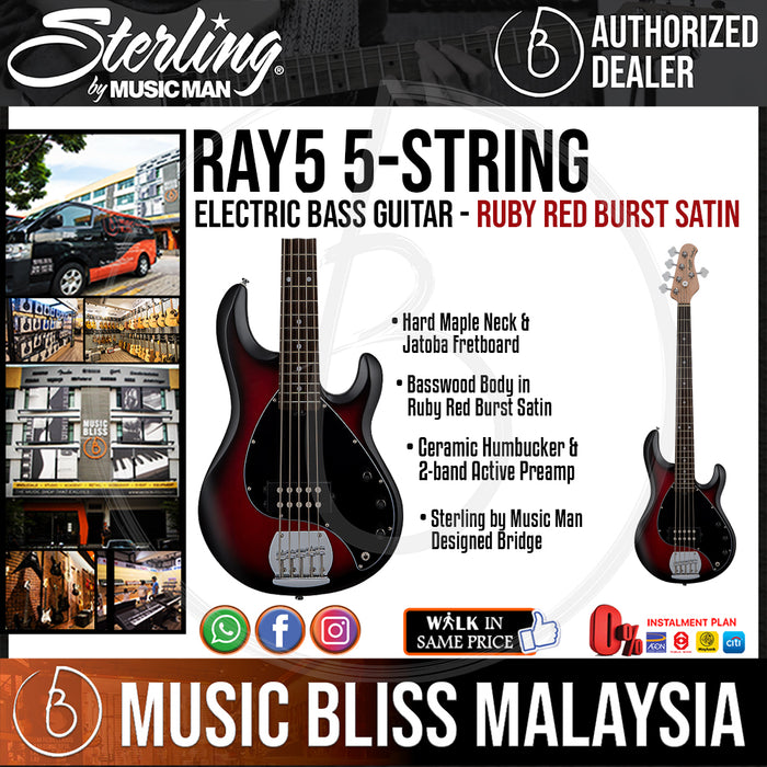 Sterling Ray5 5-String Electric Bass Guitar - Ruby Red Burst Satin (Ray-5) - Music Bliss Malaysia