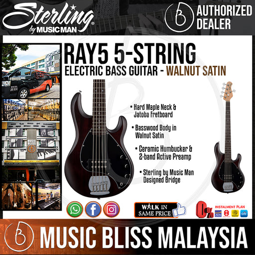 Sterling Ray5 5-String Electric Bass Guitar - Walnut Satin (Ray-5) - Music Bliss Malaysia