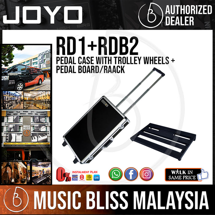 Joyo RD1+RDB2 Pedal Case with Trolley Wheels + Pedal Board/Rack (Sized in between Pedaltrain PT-JR and Pedaltrain PT-2)
