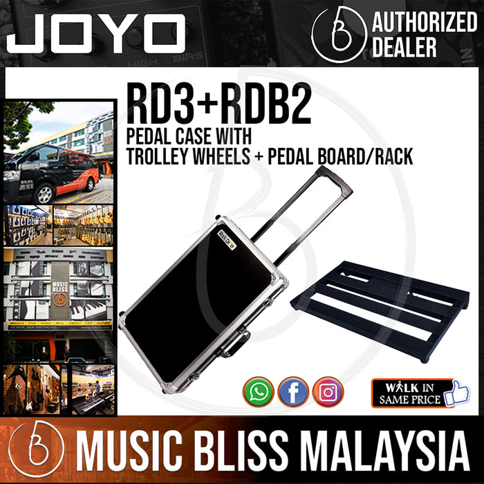Joyo RD3+RDB2 Pedal Case With Trolley Wheels + Pedal Board/Rack (Sized slightly larger than Pedaltrain PT-2) *Crazy Sales Promotion*