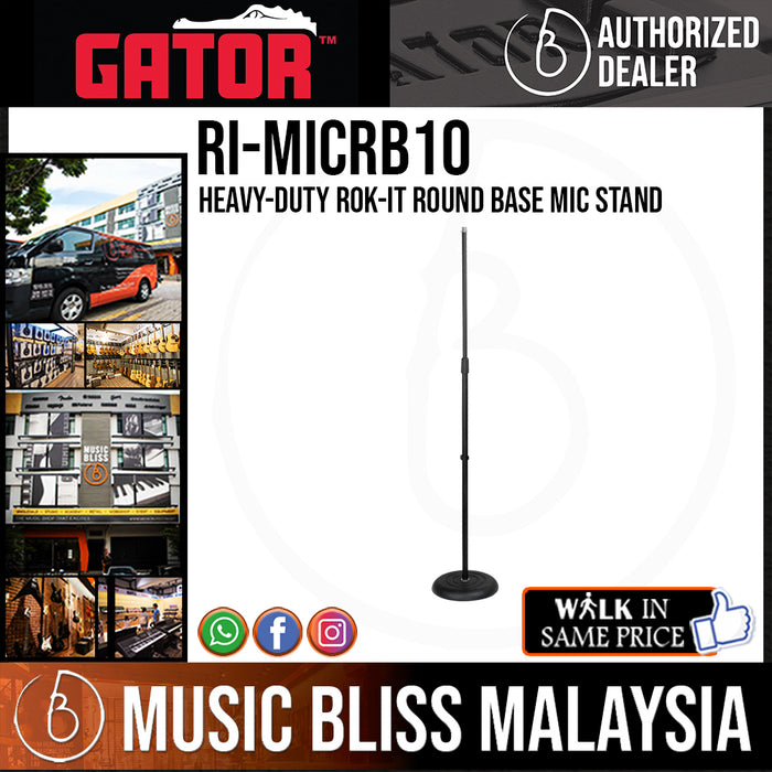 Gator Rok-It RI-RB10 Heavy-Duty Round Base Mic Stand (RIMICRB10)