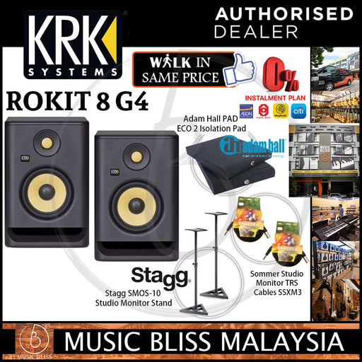 KRK RP8G4 Powered Studio Monitor (Pair) Bundle with Stagg Monitor Stand, Sommer Germany TRS Cables and Isolation Pads