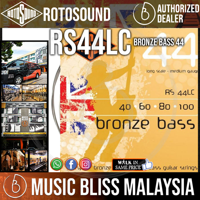 Rotosound RS44LC Bronze Bass 44 4-String Acoustic Bass Strings (40-100) - Music Bliss Malaysia
