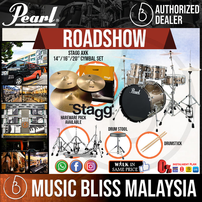 "Pearl Roadshow 5-piece Complete Drum Set with STAGG AXK Cymbal Set, Drumsticks and Throne - 22"" Kick (RS525SC/C) - Music Bliss Malaysia"