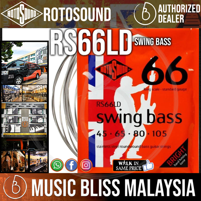 Rotosound RS66LD Swing Bass 66 4-String Bass Guitar Strings (45-105) - Music Bliss Malaysia