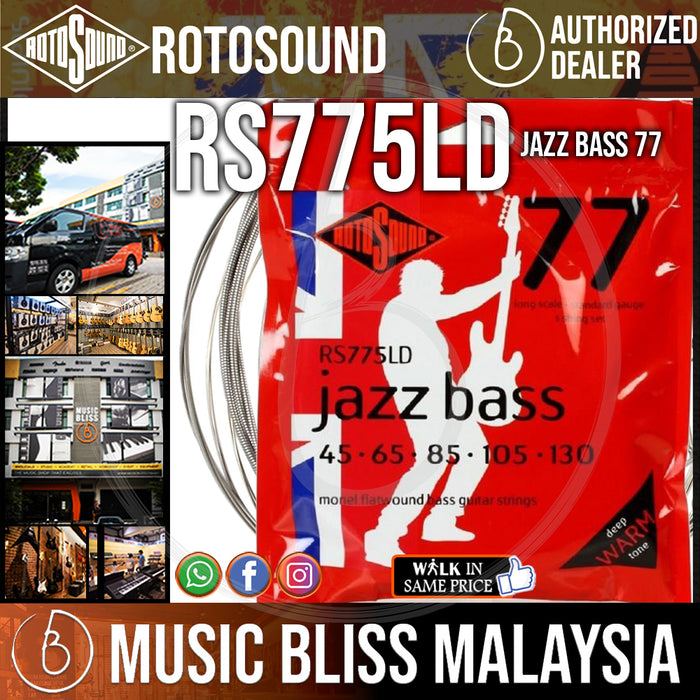 Rotosound RS775LD Jazz Bass 77 5-String Flatwound Bass Guitar Strings (45-130) - Music Bliss Malaysia