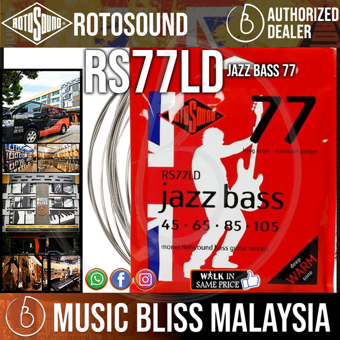Rotosound RS77LD Jazz Bass 77 4-String Flatwound Bass Guitar Strings (45-105) - Music Bliss Malaysia