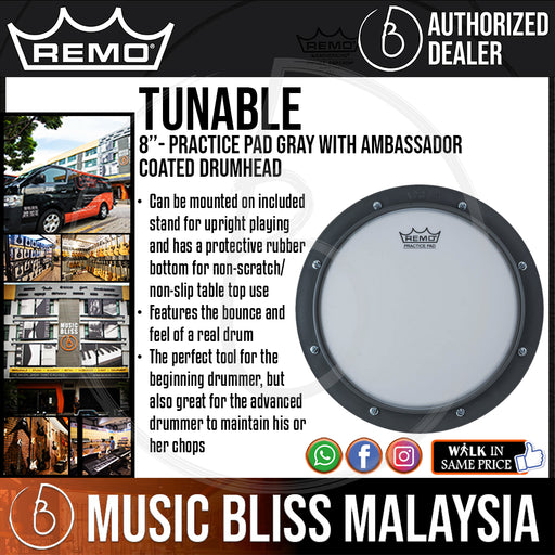 "Remo Tunable Practice Pad Gray with Ambassador Coated Drumhead - 8"" (RT-0008-00 RT000800 RT 0008 00) - Music Bliss Malaysia"