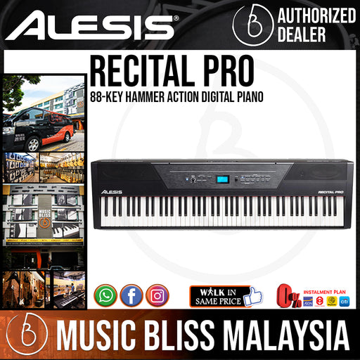 Alesis Recital Pro 88-Key Hammer Action Digital Piano - Music Bliss Malaysia