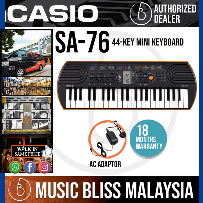 Casio SA-76 Mini Keyboard - Orange (SA76) *Crazy Sales Promotion* - Music Bliss Malaysia