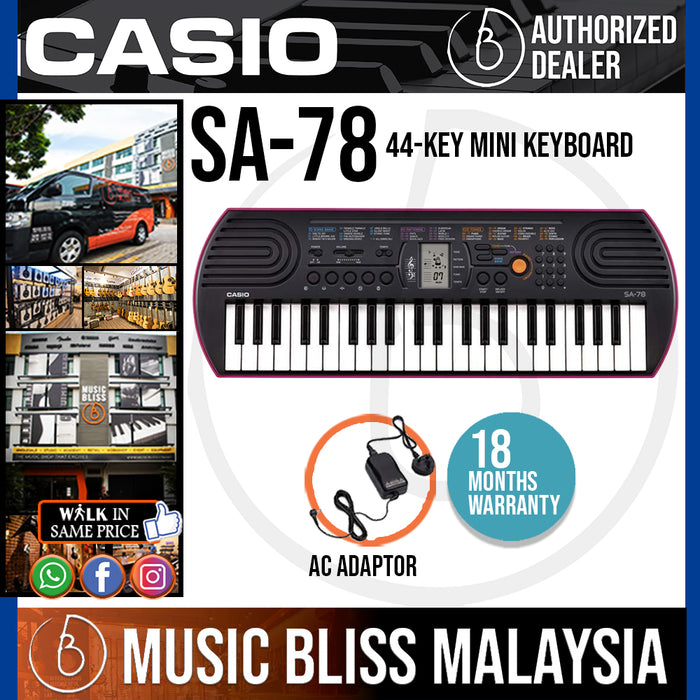 Casio SA-78 Mini Keyboard - Pink (SA78) *Crazy Sales Promotion* - Music Bliss Malaysia