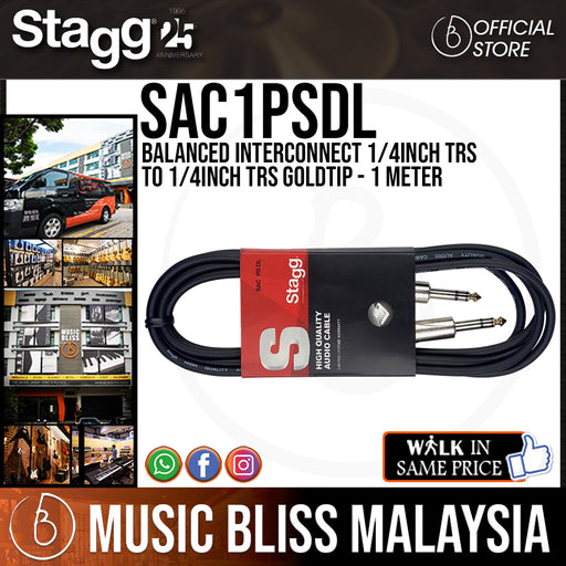 Stagg SAC1PSDL Balanced Interconnect 1/4inch TRS to 1/4inch TRS Goldtip - 1 Meter - Music Bliss Malaysia
