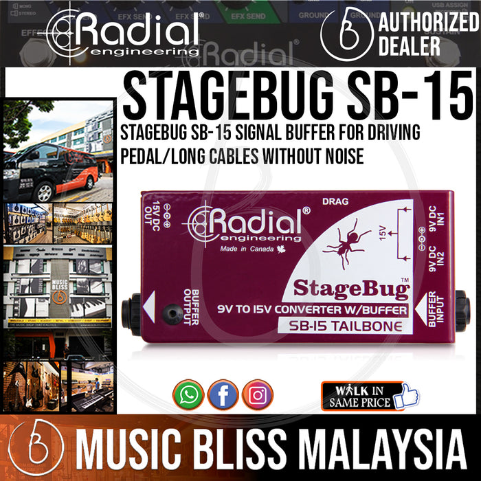 Radial Engineering StageBug SB-15 Signal Buffer For Driving Pedal/Long Cables without Noise (SB15 / SB 15) - Music Bliss Malaysia