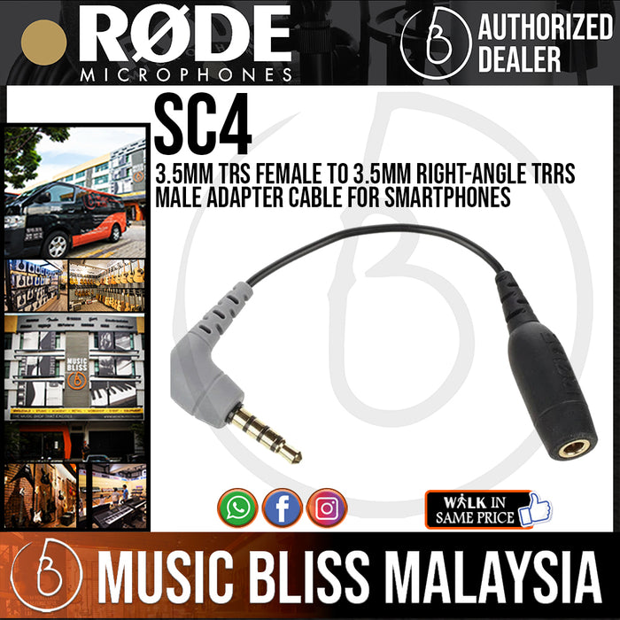 Rode SC4 3.5mm TRS Female to 3.5mm Right-Angle TRRS Male Adapter Cable for Smartphones (SC-4) - Music Bliss Malaysia