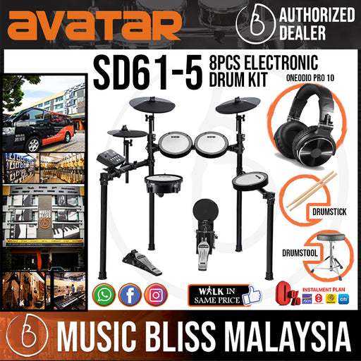 AVATAR SD61-5 8-Piece Mesh Kit Electric Drum Set (5pcs Drum Pad, 3pcs Cymbal Pad) with Headphone, Drum Throne & Drumstick - Music Bliss Malaysia