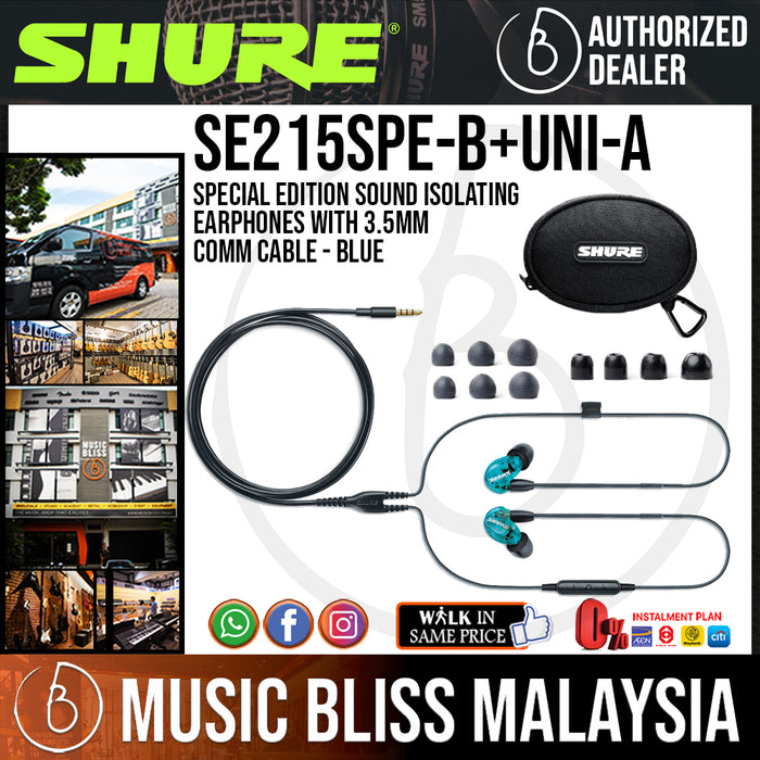 Shure SE215SPE Special Edition Sound Isolating Earphones with 3.5mm Comm Cable - Blue (SE-215 / SE 215) [Latest Version] - Music Bliss Malaysia