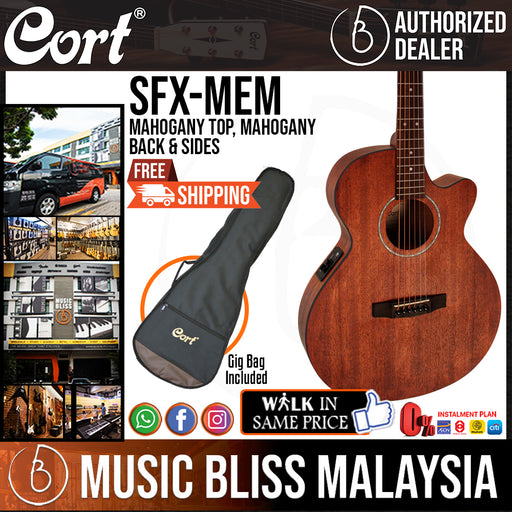 Cort SFX-MEM Acoustic Guitar Mahogany Top with Bag - Open Pore (SFX MEM SFXMEM) - Music Bliss Malaysia
