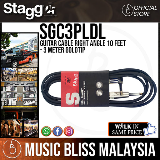 Stagg SGC3PLDL Guitar Cable Right Angle 10 Feet - 3 Meter Goldtip - Music Bliss Malaysia