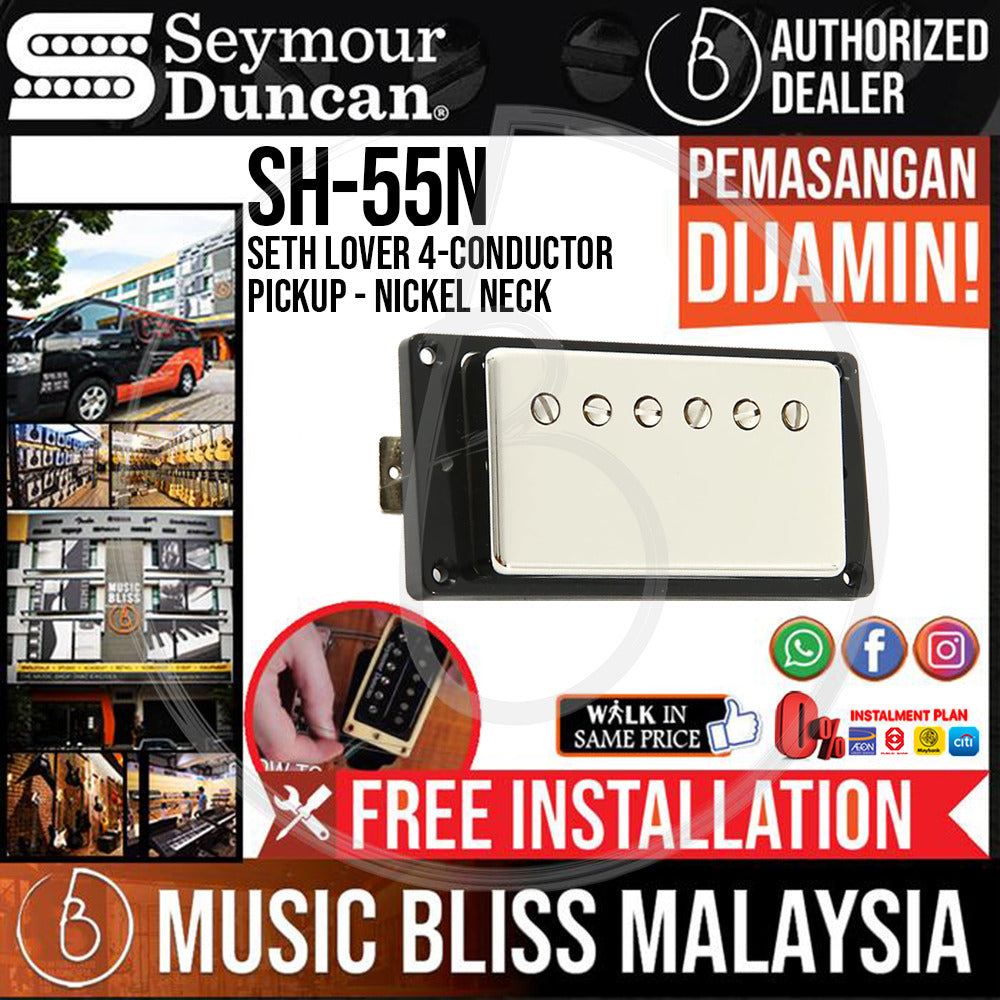 Seymour Duncan SH-55n Seth Lover 4-Conductor Pickup - Nickel Neck (SH55n) (Free In-Store Installation) - Music Bliss Malaysia