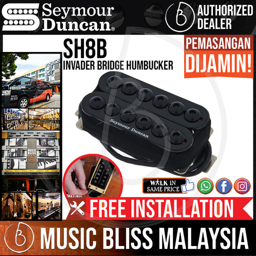 Seymour Duncan SH-8B Invader Bridge Humbucker Pickup - Black Bridge (SH8B)  (Free In-Store Installation) - Music Bliss Malaysia