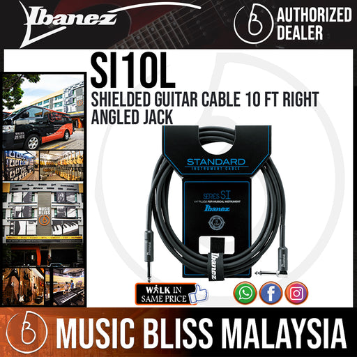 Ibanez SI10L Shielded Guitar Cable 10 ft Right Angled Jack (SI-10L) - Music Bliss Malaysia