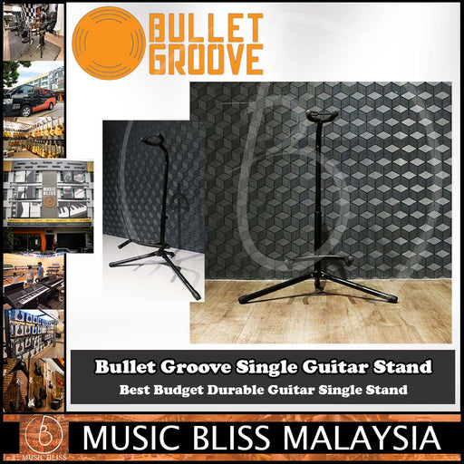 Bullet Groove Single Guitar Stand, Single Guitar Stand for Acoustic, Electric, Bass Guitars, Best Budget Durable Guitar Single Stand Malaysia - Music Bliss Malaysia
