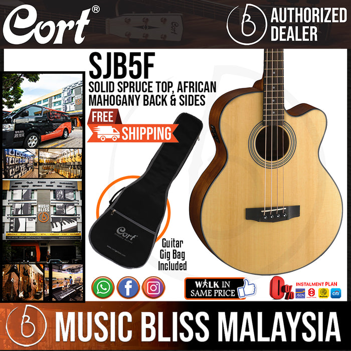 Cort SJB5F Acoustic-Electric Bass - Natural Satin