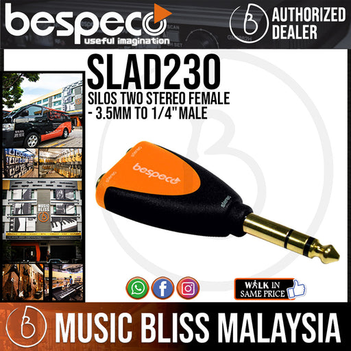 "Bespeco SLAD230 Silos Two Stereo Female 3.5mm to 1/4"" Male Adapter (SLAD-230) - Music Bliss Malaysia"