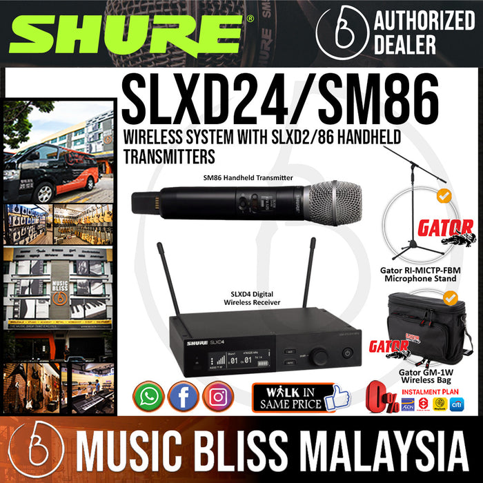 Shure SLXD24/SM86 Wireless System with SLXD2/86 Handheld Transmitters and Free Gator GM-1W Wireless Bag - Music Bliss Malaysia