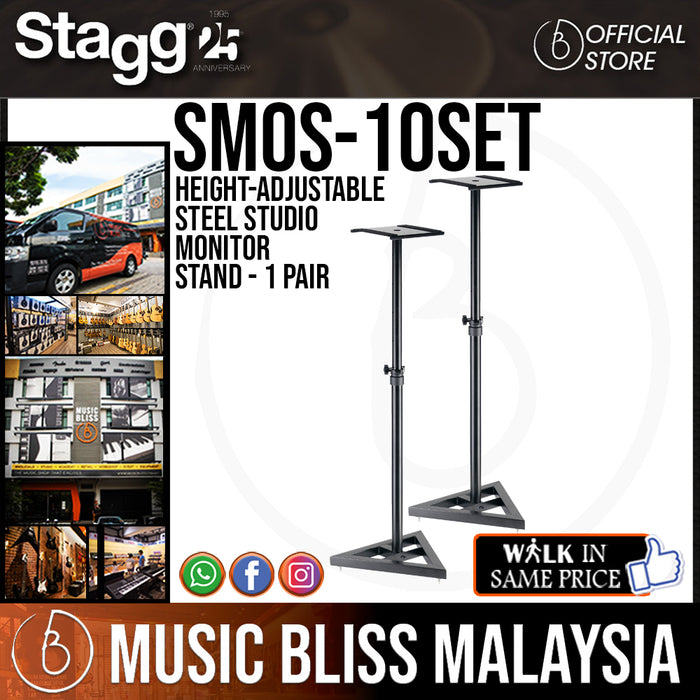 Stagg SMOS-10SET Height-Adjustable Steel Studio Monitor Stand - 1 Pair (SMOS10SET) - Music Bliss Malaysia
