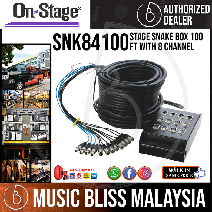 On-Stage SNK84100 Stage Snake Box 100 ft with 8 channel (OSS SNK84100)